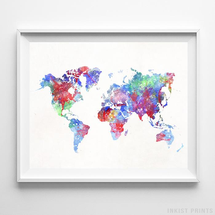 Watercolor world map print artwork posters inkist prints watercolor world map type 1 print gumiabroncs Image collections