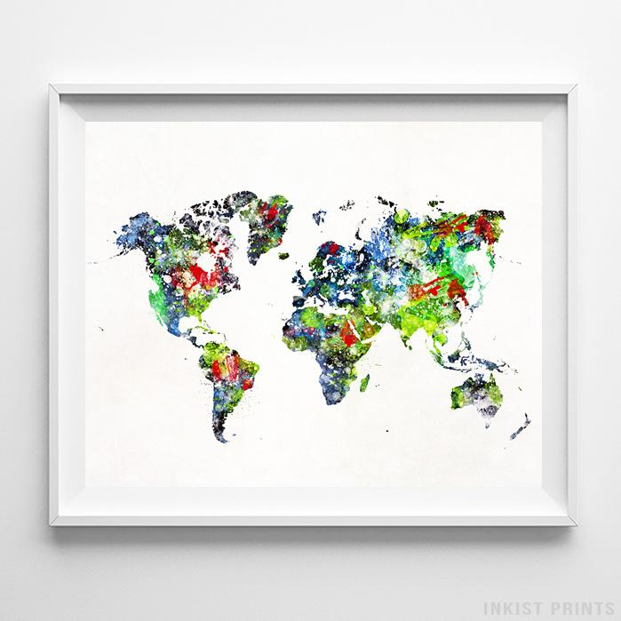 Watercolor World Map Type 2 Print-Poster-Wall_Art-Home_Decor-Inkist_Prints