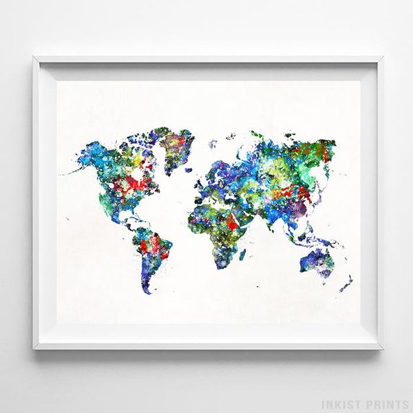 Watercolor World Map Type 3 Print - Inkist Prints