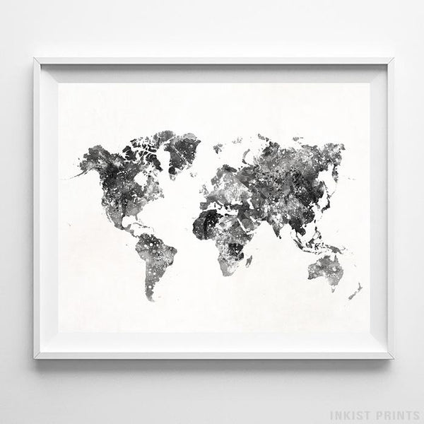 World map inkist prints watercolor world map type 4 print inkist prints gumiabroncs Gallery