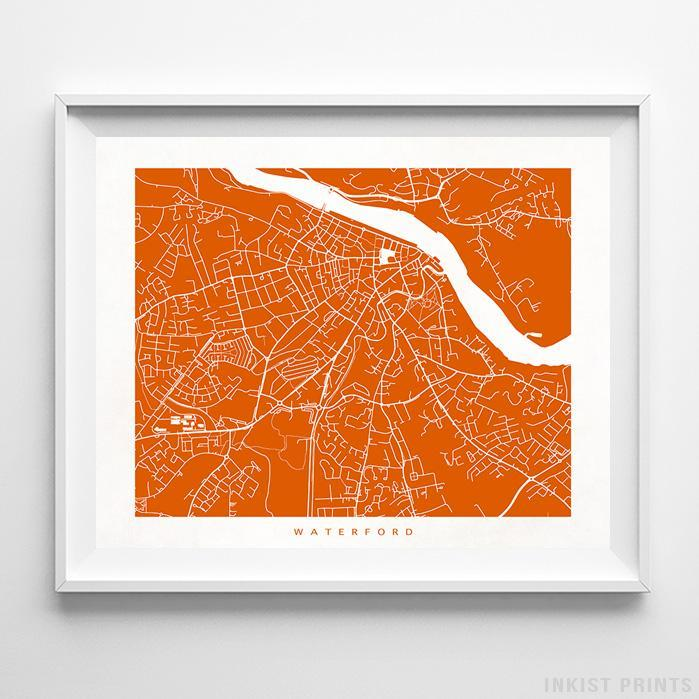 Waterford, Ireland Street Map Horizontal Print-Poster-Wall_Art-Home_Decor-Inkist_Prints