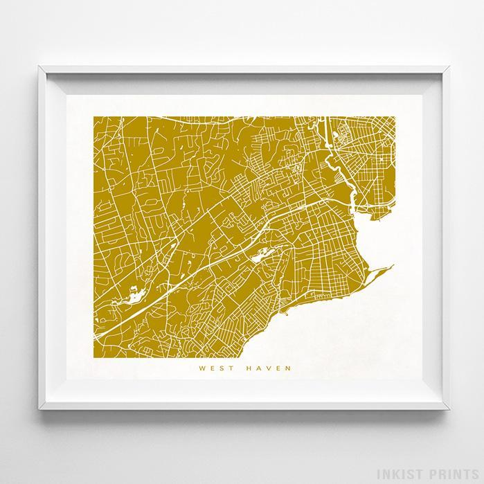 West Haven, Connecticut Street Map Horizontal Print-Poster-Wall_Art-Home_Decor-Inkist_Prints