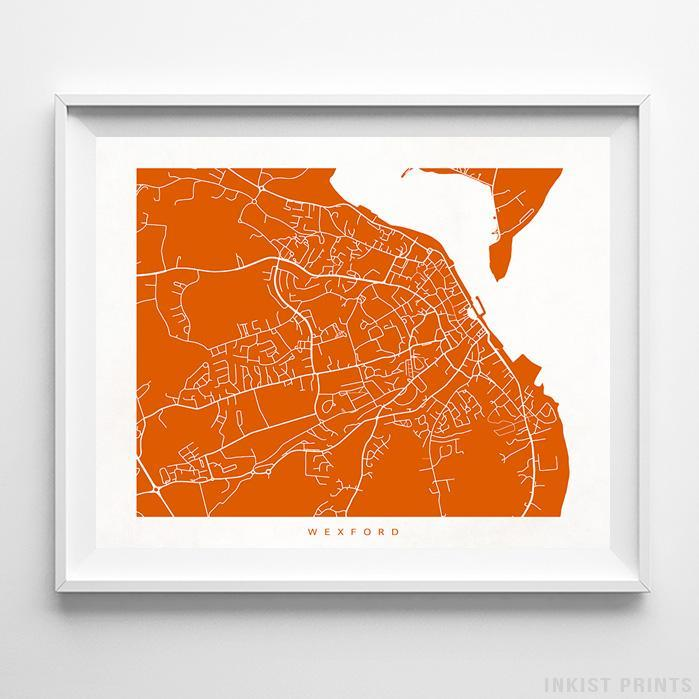Wexford, Ireland Street Map Horizontal Print-Poster-Wall_Art-Home_Decor-Inkist_Prints