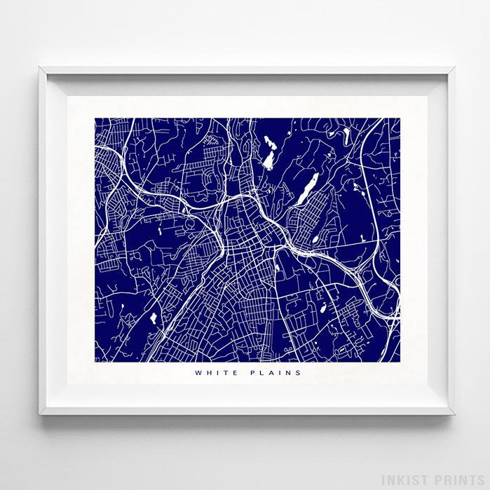White Plains, New York Street Map Horizontal Print-Poster-Wall_Art-Home_Decor-Inkist_Prints