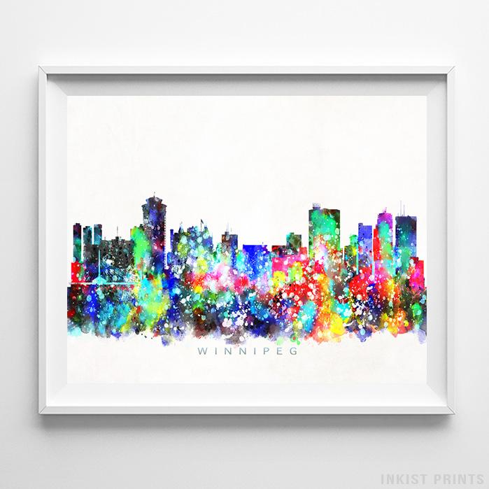 Winnipeg, Canada Skyline Watercolor Print-Poster-Wall_Art-Home_Decor-Inkist_Prints