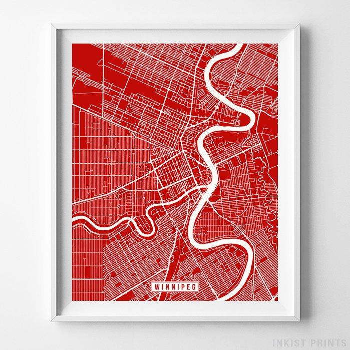 Winnipeg, Canada Street Map Vertical Print-Poster-Wall_Art-Home_Decor-Inkist_Prints