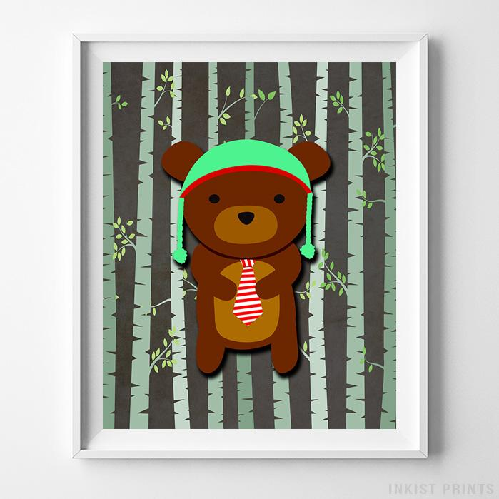 Woodland Bear Brown Background Print-Poster-Wall_Art-Home_Decor-Inkist_Prints
