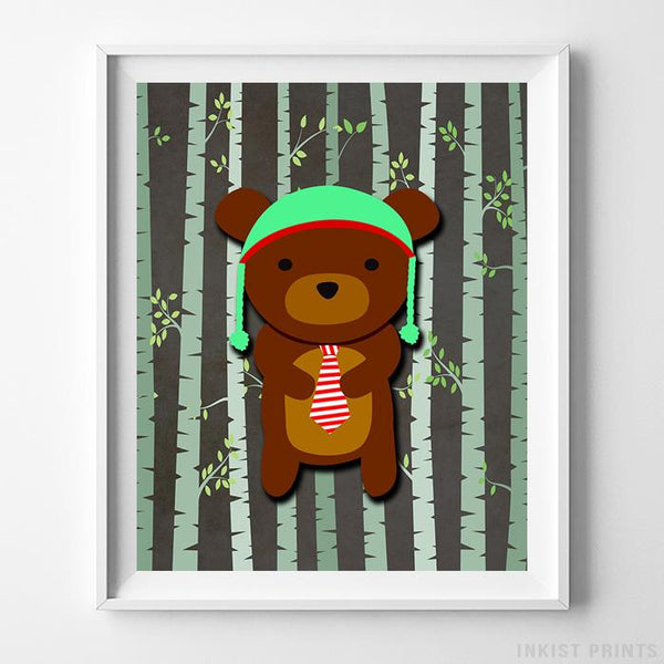 Woodland Bear Brown Background Print - Inkist Prints