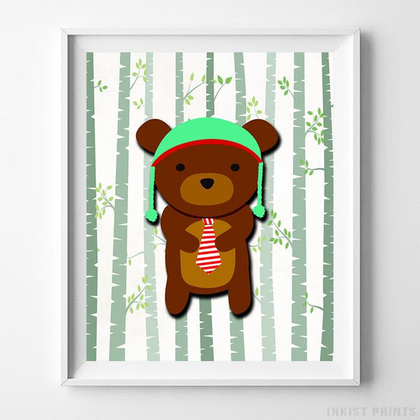 Woodland Bear White Background Print-Poster-Wall_Art-Home_Decor-Inkist_Prints