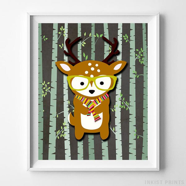Woodland Deer Brown Background Print - Inkist Prints