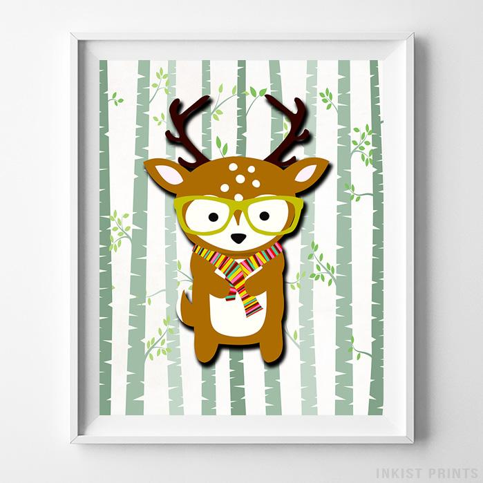 Woodland Deer White Background Print - Inkist Prints