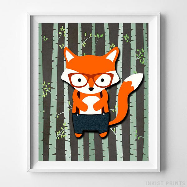 Woodland Fox Brown Background Print-Poster-Wall_Art-Home_Decor-Inkist_Prints
