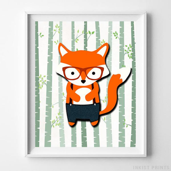 Woodland Fox White Background Print - Inkist Prints