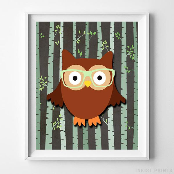 Woodland Owl Brown Background Print-Poster-Wall_Art-Home_Decor-Inkist_Prints