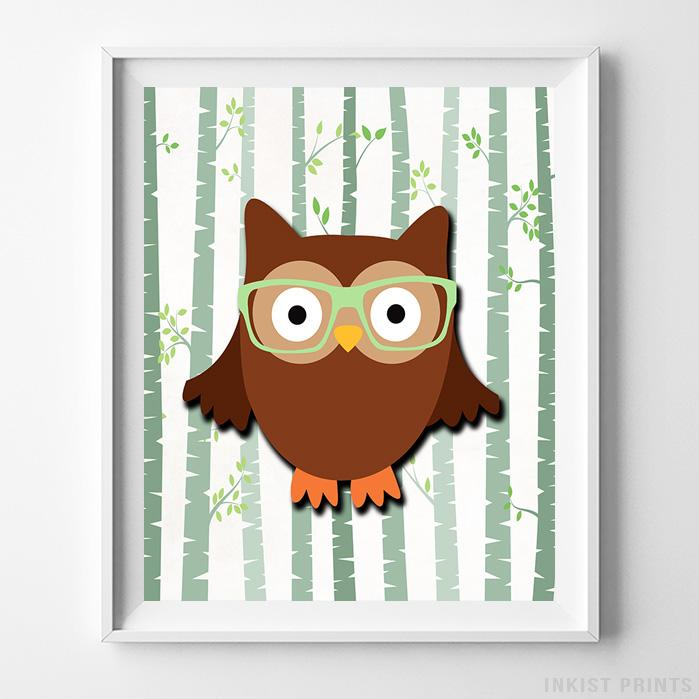 Woodland Owl White Background Print-Poster-Wall_Art-Home_Decor-Inkist_Prints