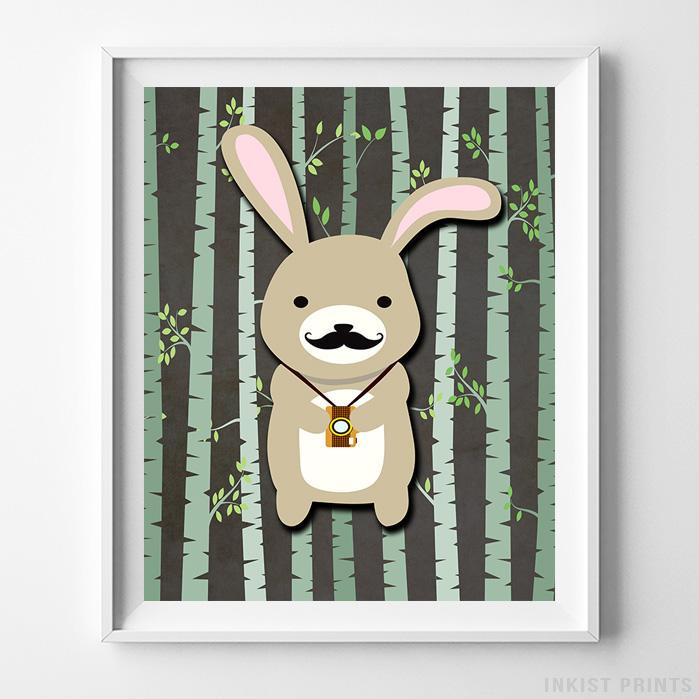 Woodland Rabbit Brown Background Print-Poster-Wall_Art-Home_Decor-Inkist_Prints