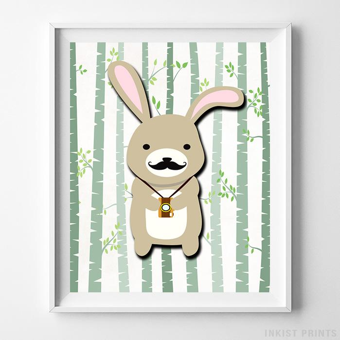 Woodland Rabbit White Background Print-Poster-Wall_Art-Home_Decor-Inkist_Prints