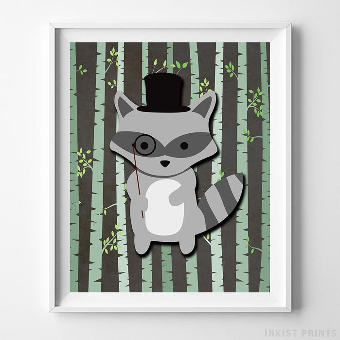 Woodland Raccoon Brown Background Print-Poster-Wall_Art-Home_Decor-Inkist_Prints
