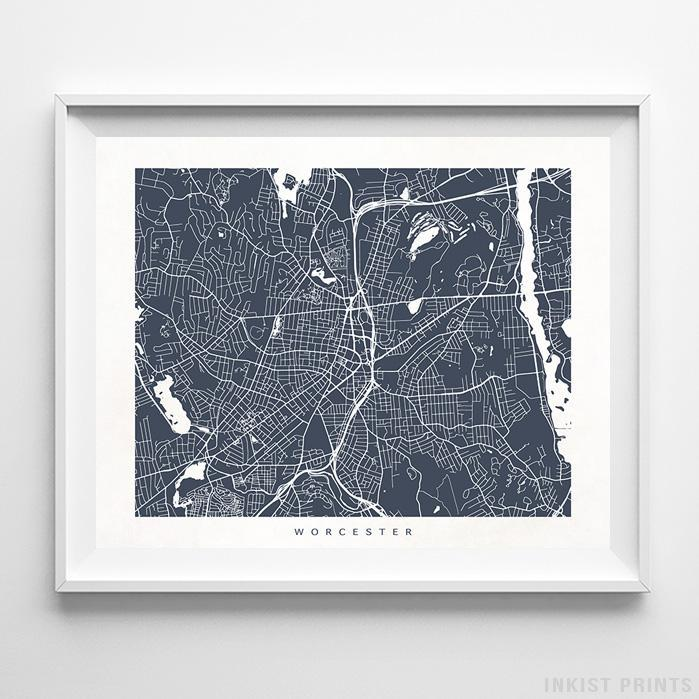 Worcester, Massachusetts Street Map Horizontal Print-Poster-Wall_Art-Home_Decor-Inkist_Prints