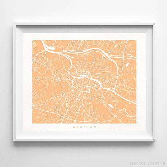 Wroclaw, Poland Street Map Horizontal Print-Poster-Wall_Art-Home_Decor-Inkist_Prints