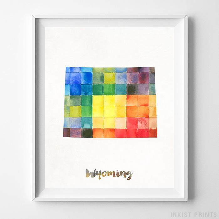 Wyoming Watercolor Map Print - Inkist Prints