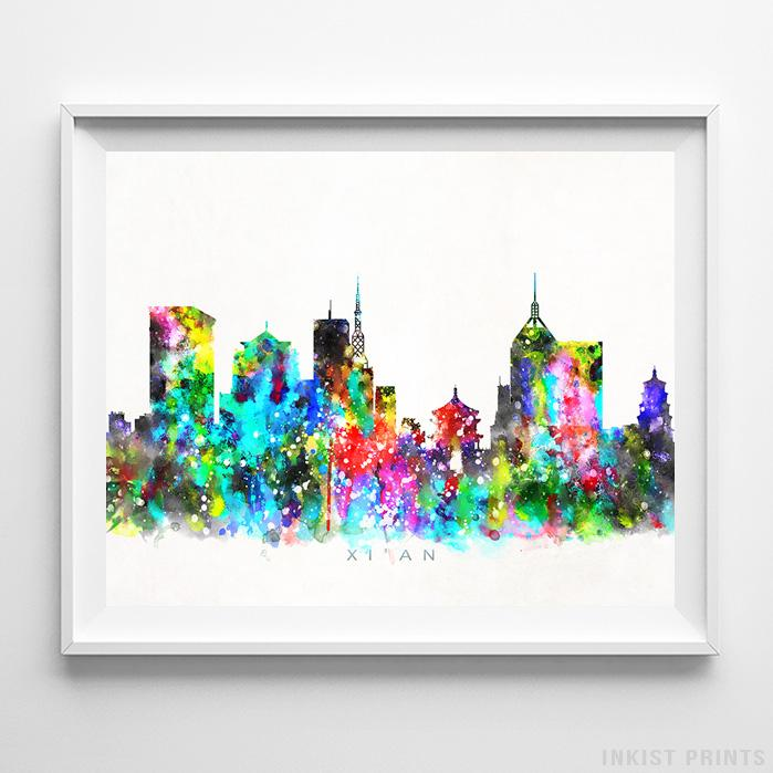 Xi'an, China Skyline Watercolor Print-Poster-Wall_Art-Home_Decor-Inkist_Prints