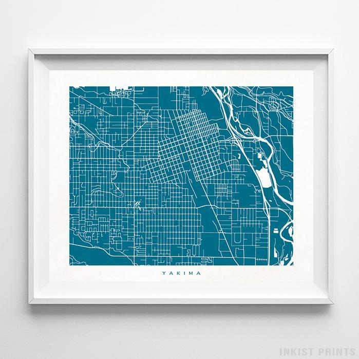 Yakima, Washington Street Map Horizontal Print-Poster-Wall_Art-Home_Decor-Inkist_Prints
