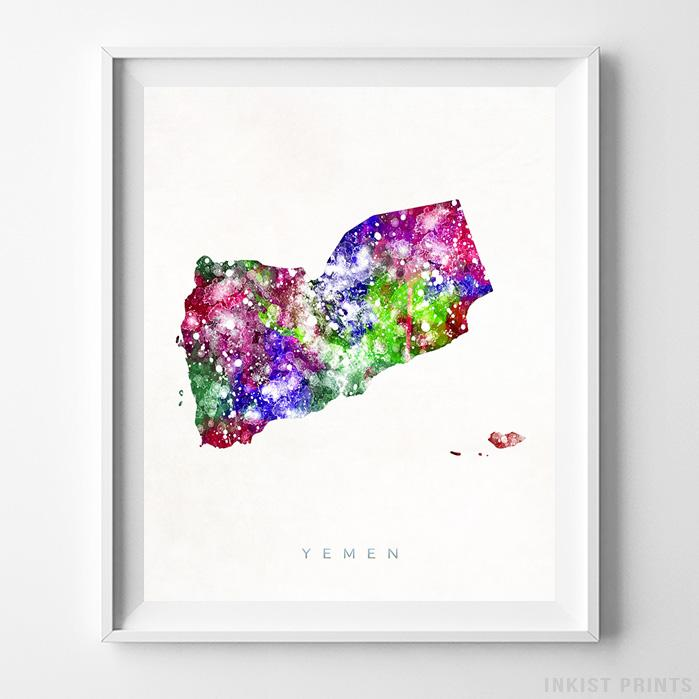 Yemen Watercolor Map Print-Poster-Wall_Art-Home_Decor-Inkist_Prints