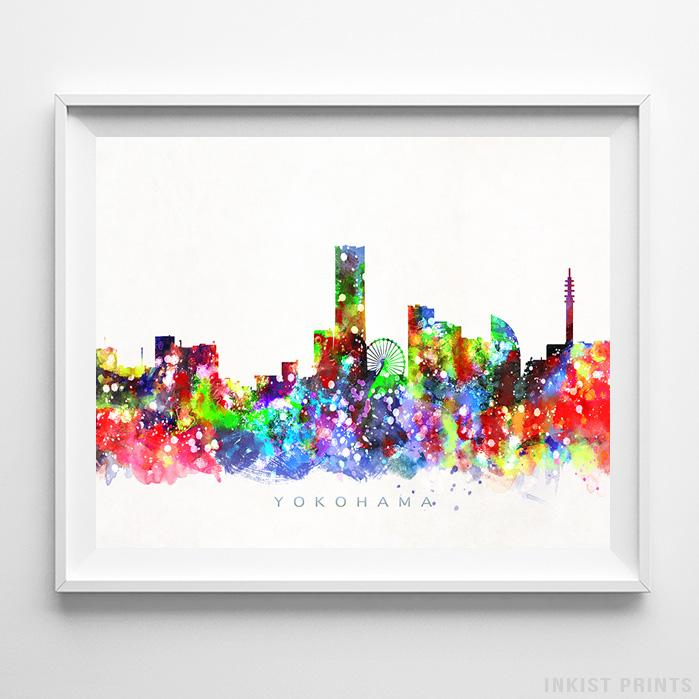 Yokohama, Japan Skyline Watercolor Print - Inkist Prints