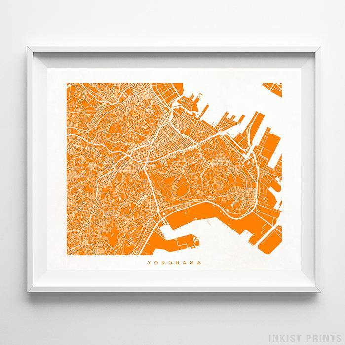 Yokohama, Japan Street Map Horizontal Print-Poster-Wall_Art-Home_Decor-Inkist_Prints