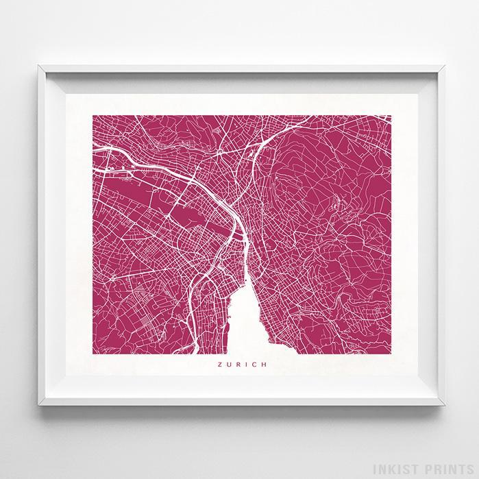 Zurich, Switzerland Street Map Horizontal Print-Poster-Wall_Art-Home_Decor-Inkist_Prints