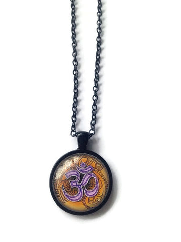 Orange ohm cabochon necklace