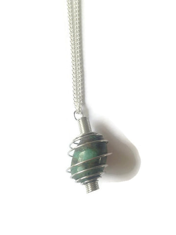 Green cage necklace