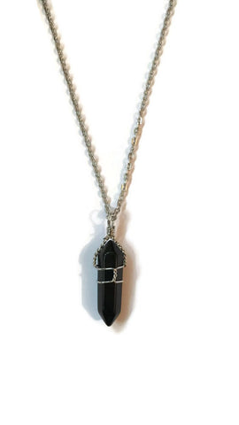 Wrapped Black Agate necklace