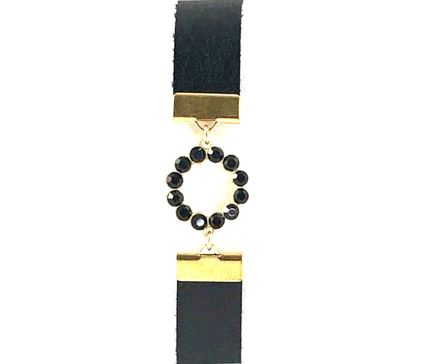 Black Leather Bracelet with Swarovski Circle