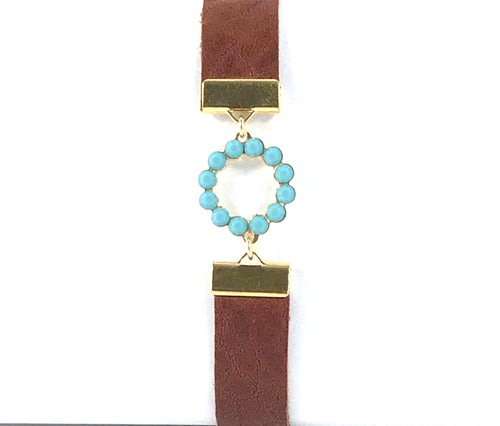 Brown Leather Bracelet with Swarovski Circle