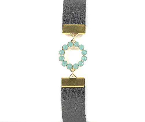 Gray Leather Bracelet with Swarovski Circle