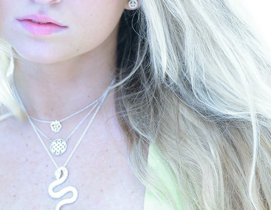 Sterling Silver Serpent Necklace layered with Sterling Silver Celtic Love Knot