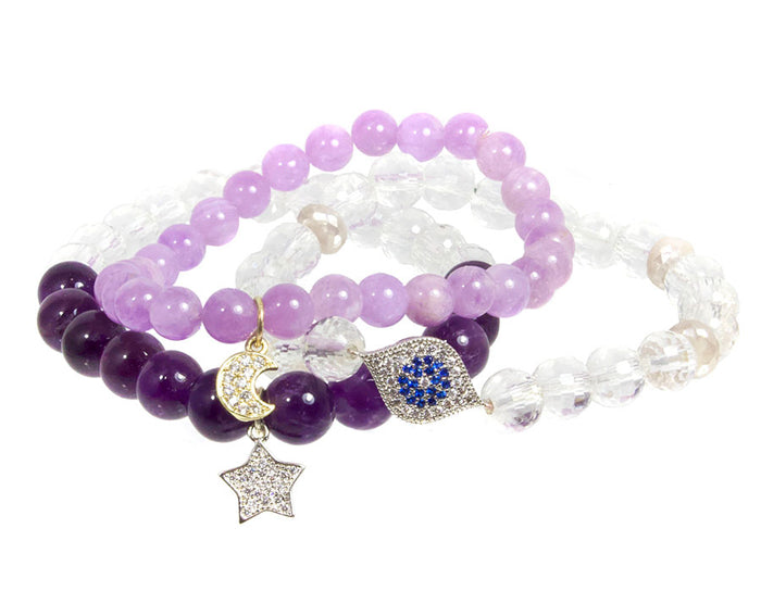 I Am Blissful Bracelet Set ~ Crown Chakra