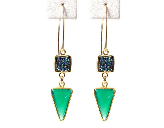 Green Harmony Druzy Earrings