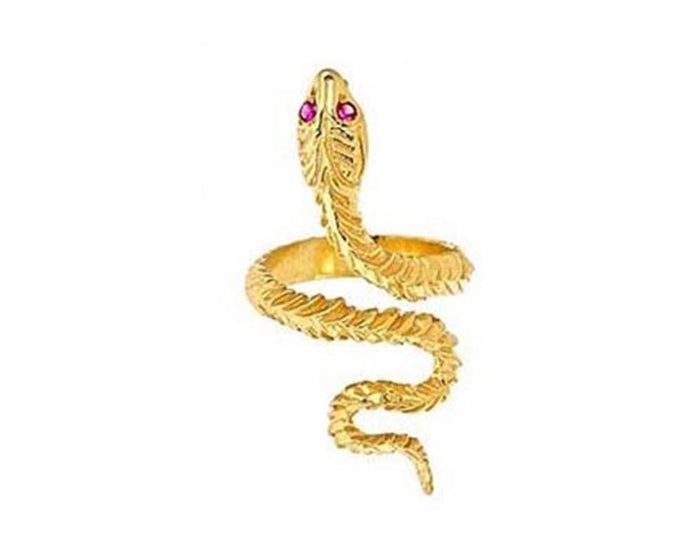 Gold Plated Ruby Eyed Snake Ring