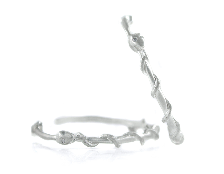 Sterling Silver Snake Wrapped Hoops