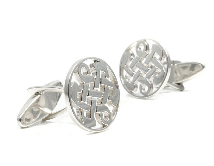 Sterling Silver Round Celtic Love Knot Cufflinks
