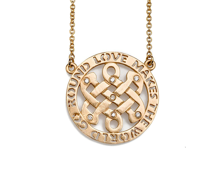 Gold Celtic Love Knot Necklace with Love Makes The World Go Round Cut out Border
