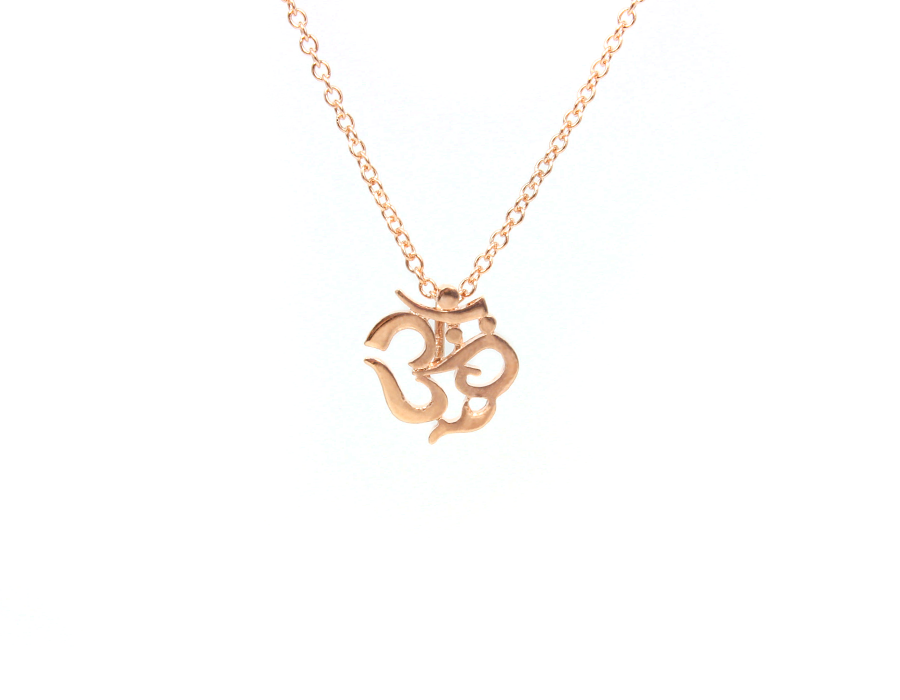 Pink Gold Plated Mini Om Symbol Necklace