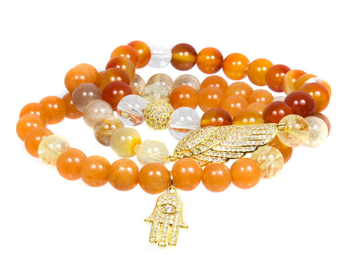 I Am Intention Bracelet Set ~ Sacral Chakra