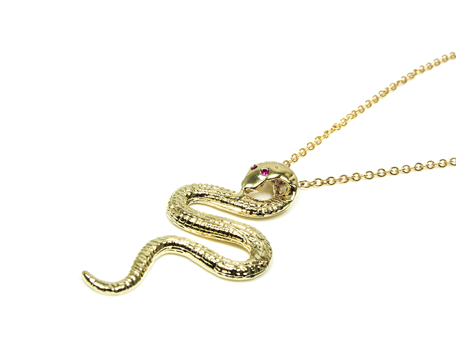 Petite Ruby Eyed Sultry Serpent Necklace
