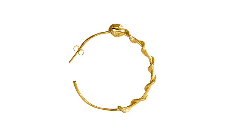 Gold Plated Snake Wrapped Hoop Earrings