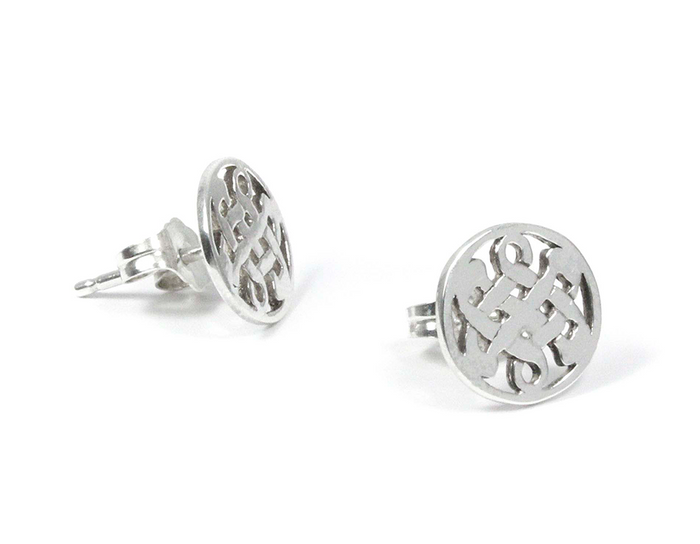 Sterling Silver Celtic Love Knot Stud Earrings