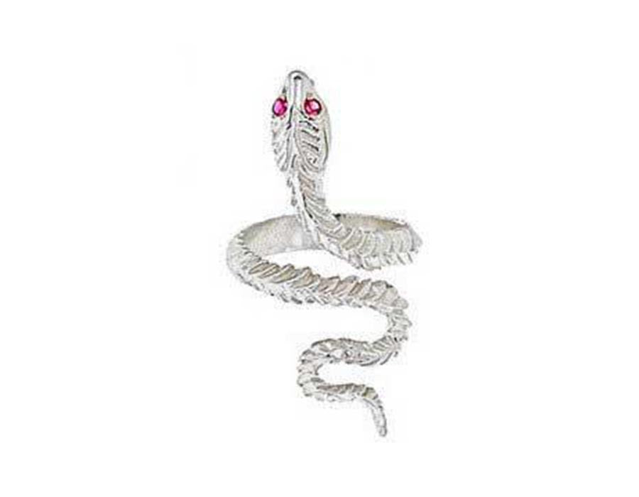 Sterling Silver Ruby Eyed Snake Ring